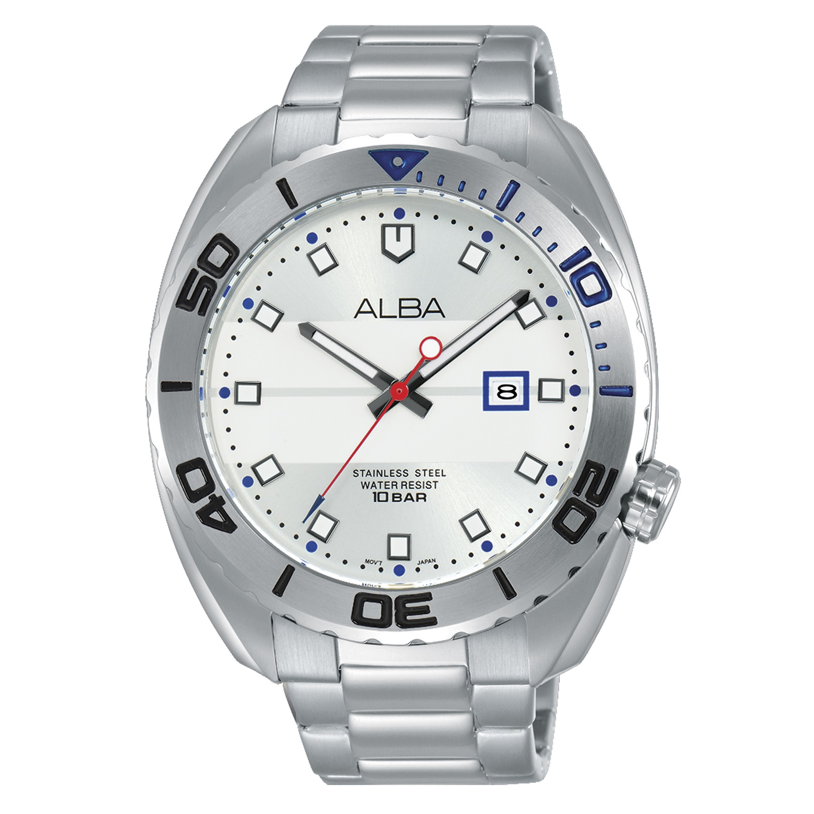 Alba Men Silver Dial Stainless Steel Strap - AG8H47X1 - One Size